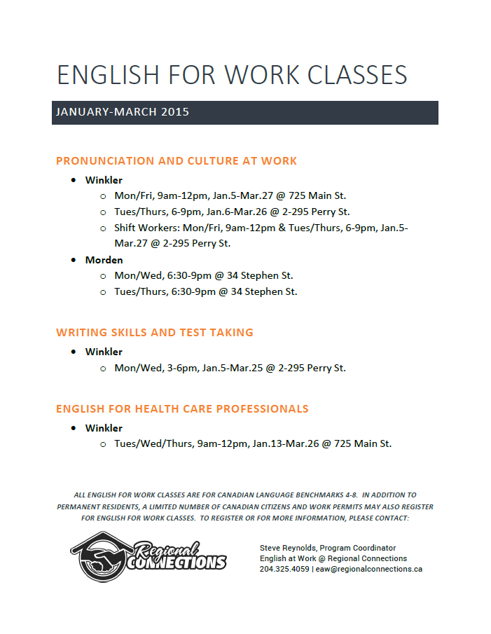 English for Work - winter 2015