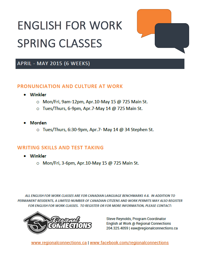 English for Work class schedule - spring 2015