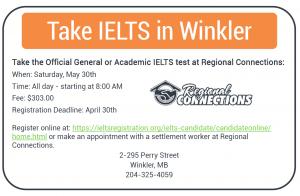 IELTS Test in Winkler - May 2015