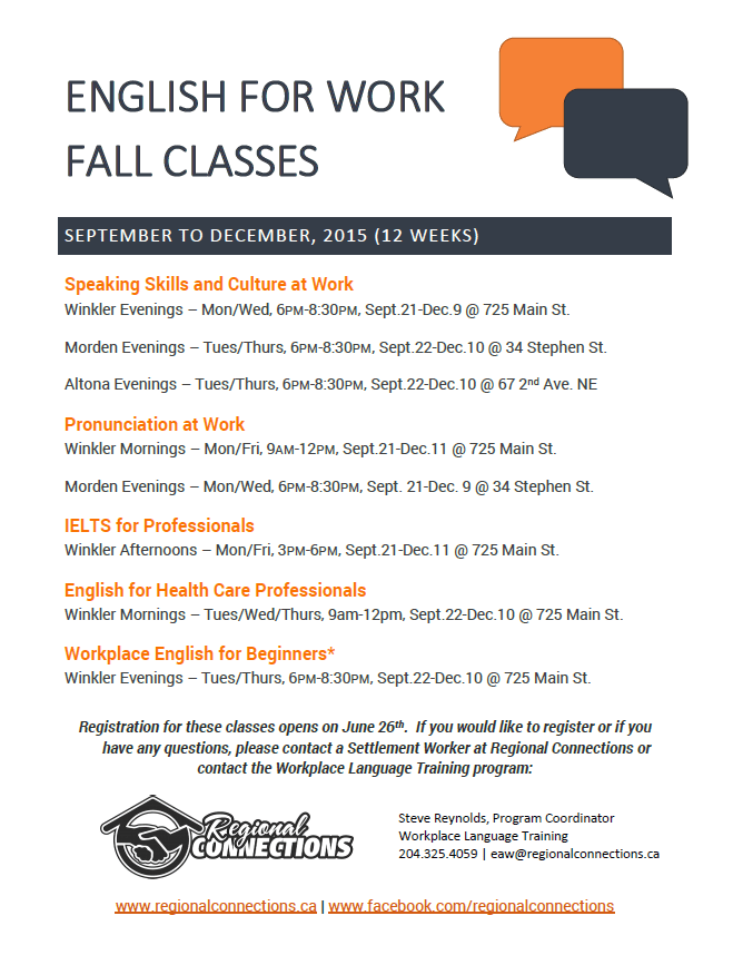 English for WOrk class schedule - fall 2015