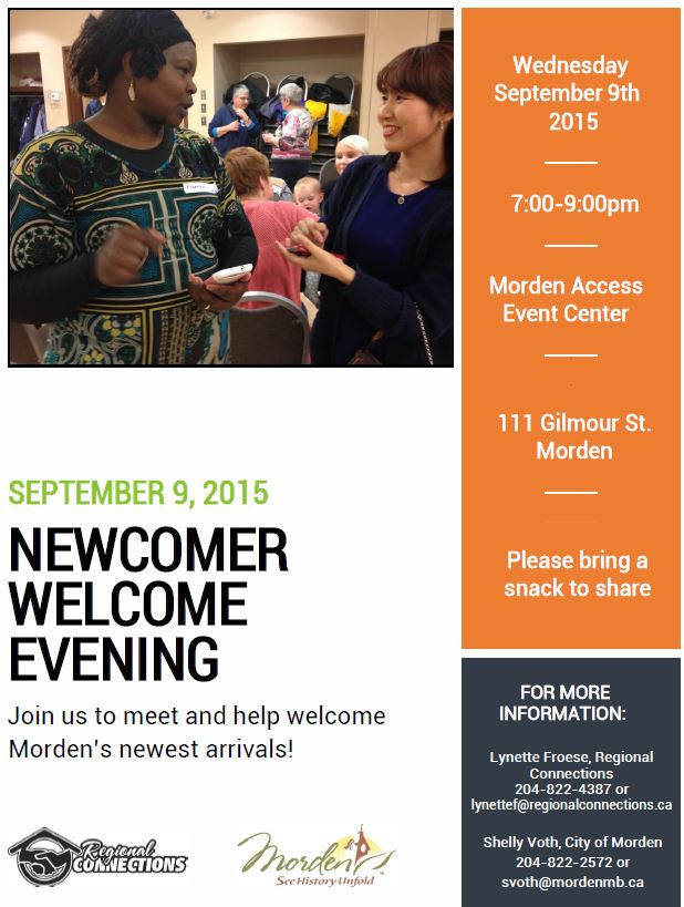 Newcomer Welcome Evening Sept 2015