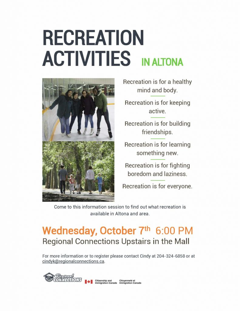 Recreation activities Information Session - Altona