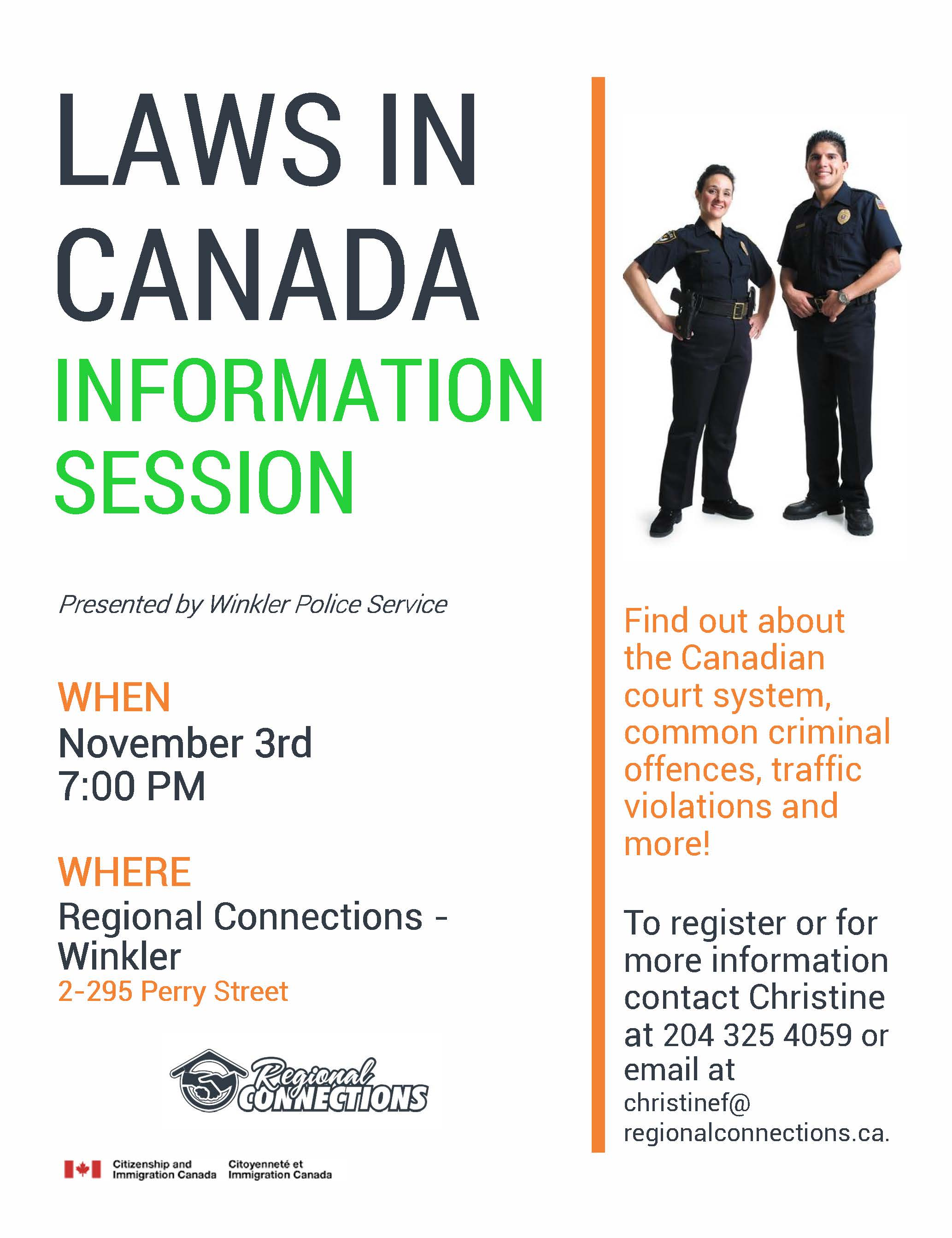 Laws in Canada Information Session – Winkler and Morden