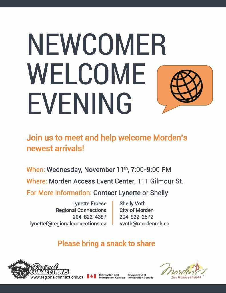 Newcomer Welcome Evening - Nov. 2015