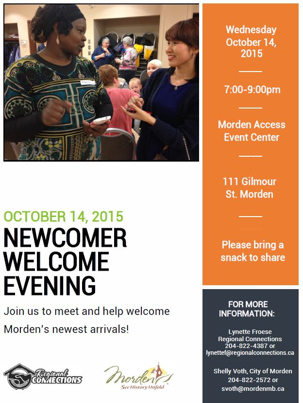 Newcomer Welcome Evening October 14 2015