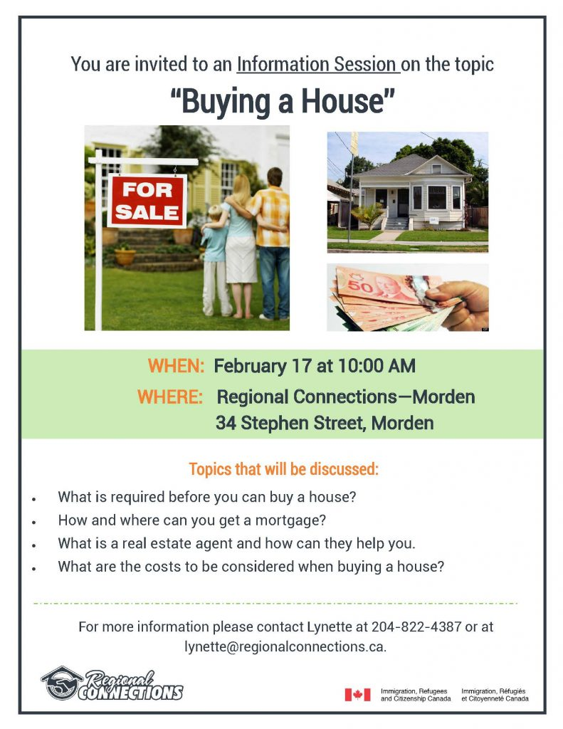 Buying a home info session Morden 2016