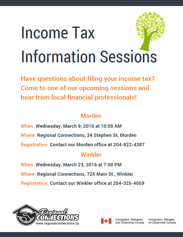 Income Tax Info Session - Winkler and Morden - March 2016
