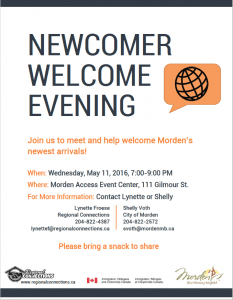 Newcomers Welcome Evening Morden May 2016