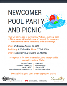 Newcomer Pool Party and Picnic Morden 2016