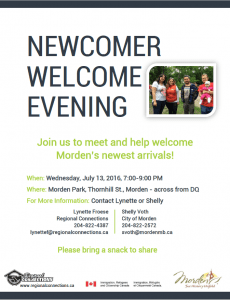 Newcomer Welcome Evening Morden July 2016