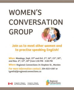 Women's Conversation Group – Regional Connections – Immigrant Services